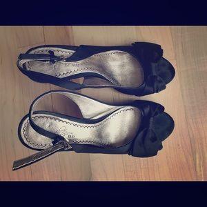 Satin black sling back dress shoes/sandal